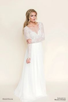 Shop affordable Maxi Illusion-Sleeve V-Neck Chiffon Wedding Dress With Lace And Backless Design at June Bridals! Over 8000 Chic wedding, bridesmaid, prom dresses & more are on hot sale. Pleated Wedding Dresses, Wedding Dress Chiffon, 2016 Wedding Dresses, Backless Wedding, Wedding Dress Sleeves, Long Sleeve Wedding, Tulle Dress, Bridal Dresses, Tulle Wedding