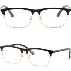887cb51a6b8 Full Rim Plastic Black Browline Frames Mens Womens Prescription Glasses  Gold Rim