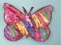 Wax and colour wash butterfly Insect Crafts, Preschool Art Activities, Insects, Wax, Butterfly, Colour, Color, Bug Crafts, Colors