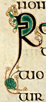 Book of Kells - initial letter R