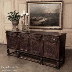 French Renaissance Oak Raised Buffet ~ www.inessa.com