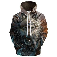 Wolf Warrior by SunimaArt Hoodies Unisex Hooded Sweatshits Drop Ship Animal Hoodie  Brand Tracksuits 2018 Pullover Male Coat 13aff182895d