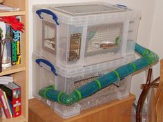 A few years ago I built a bin cage for first hamster, Millie, and I covered up the raw edges of the cut plastic with thin aluminium strips, cut to length and drilled.