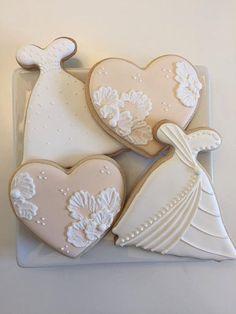 Bridal Cookies Wedding Dress Cookie Heart by KennedysCookies