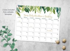 Greenery Baby Due Date Prediction Calendar Printable, Floral Baby Due Date Calendar, Green and Gold Boy Or Girl Prediction, Baby Prediction, Simple Baby Shower, Floral Baby Shower, Baby Due Date Calendar, Gold Baby Showers, Baby Shower Games, Baby Shower Decorations, As You Like