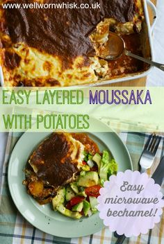 This easy layered moussaka uses potatoes which makes it more economical. The béchamel sauce is made in a microwave which makes things easier! A great crowd pleaser!