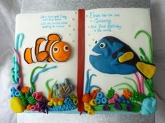 Nemo And Dory Book 1st Birthday Christening Cake  Decorating