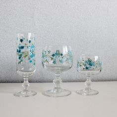 """Set Of 3 Vintage French """" Veronica """" ARCOPAL Drinking Glasses - Water,wine,champagne - French Vintage - C456 by OhlalaCamille on Gourmly"""