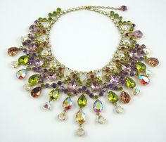 CIS heart collar with stones in olivine, amethyst, AB, and hyacinth AB.