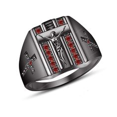 New Jesus Cross Men's Band Ring 0.56 Carat Round Cut Red Garnet in 925 Silver #aonedesigns #JesusCrossMensRing