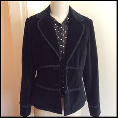 Night To Casual Jacket Just enough style to dress up any outfit from casual to dressy. Very soft velvety feel to the jacket accented by tiny satin ruffle trim around the collar sleeves and two rows that go around the body of jacket. The sleeve length from shoulder seam to hem is 24 inches and the length from back of neck to hem is 22 1/2 inches. Body is 100% cotton the lining is 100% polyester Dry Clean Apt. 9 Jackets & Coats