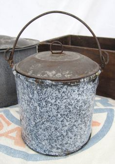 Antique Shabby Gray Spatter Graniteware / by BrownStreetVintage, $18.00