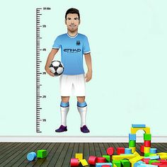 Sergio Aguero wall chart, let your children keep track of their height compared to their Manchester City hero