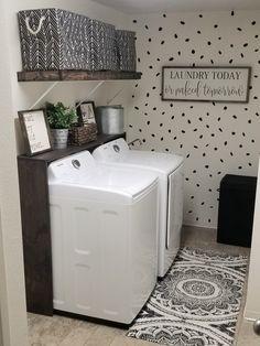 Laundry Room Shelves, Laundry Room Remodel, Laundry Decor, Basement Laundry, Laundry Area, Laundry Closet, Laundry Room Organization, Small Laundry, Laundry Room Design