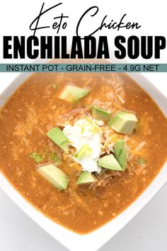 Keto Chicken Enchilada Soup Everyone needs a good Chicken Enchilada Soup recipe, especially in the dead of winter. This easy and warming keto soup can be made in the Instant Pot or the slow cooker. Grab a spoon and dig in! Slow Cooker Recipes, Crockpot Recipes, Soup Recipes, Chicken Recipes, Keto Chicken, Dishes Recipes, Recipe Chicken, Sweets Recipes, Chicken Soup