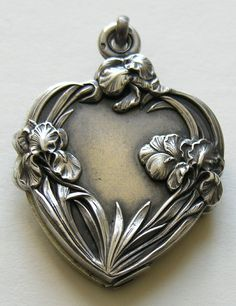 French Art Nouveau Silver Heart Slide Locket - Norm used to buy me beautiful Iris jewelry.