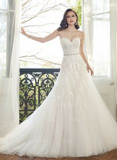 Wedding Dresses - $197.34 - A-Line/Princess Strapless Sweetheart Chapel Train Tulle Lace Wedding Dress With Beading (00205003571)