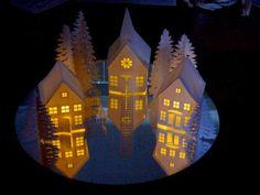 Ashbee Design Silhouette Projects: Tea Light Village Tutorial Even has printable village!