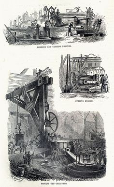 The building of a steamship - old book illustration