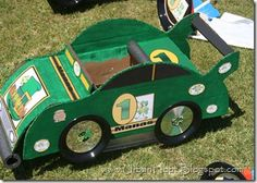 awesome cardboard race cars- how the HECK would we make these though? awesome cardboard race cars- how the HECK would we make these though? Projects For Kids, Diy For Kids, Car Costume, Nascar Party, Cardboard Car, Valentine Box, Diy Car, Crafts To Make, Summer Fun