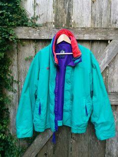 80's Ski Jacket, Vintage Columbia Ski Jacket, Neon Ski Jacket, Men's Ski Jacket, Size L, 28 Inches Wide, 25 Inches Long, 22 Inch Sleeve by aLaRoad on Etsy