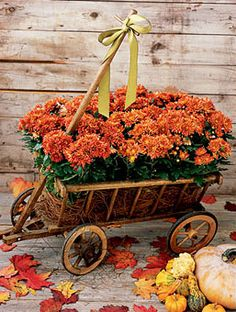 Fall Accents around the Outside and inside are a perfect touch, I recommend Flea Markets for Unique Things like this wagon.