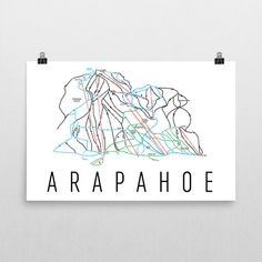 Arapahoe Ski Map Art, Arapahoe Colorado, Arapahoe Trail Map, Arapahoe Ski Resort Print, Arapahoe Poster, Art, Gift