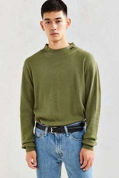 Stussy Mock Neck Thermal Long-Sleeve Tee - Urban Outfitters