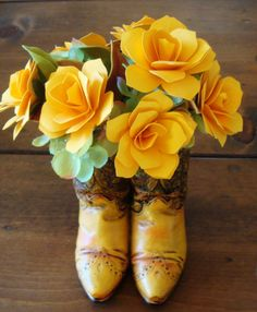Cowboy Boots or CowGirl Paper Flower Arrangement Yellow rose in Cowbo…