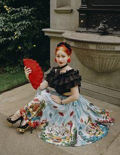 Get this look: http://lb.nu/look/8860553  More looks by Roberta D.: http://lb.nu/robertarimbaud  Items in this look:  Asos Ruffle Cropped Top, Kate Spade Cacti Earrings, 1930´S Crochet Bag, 1950´S Handpainted Skirt, Charlotte Olympia Heels, Abbie Walsh Bespoke Necktie   #artistic #bohemian #vintage