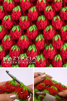 How to Crochet the Strawberry Stitch using Tunisian Crochet Stitches How cute is this stitch? This fun strawberry stitch is made with Tunisian crochet stitches. You can use this for bags, dishcloths, hot pads and more. Tunisian Crochet Stitches, Crochet Stitches Patterns, Crochet Designs, Knitting Stitches, Knit Crochet, Free Knitting, Crochet Basics, Crochet For Beginners, Hot Pads