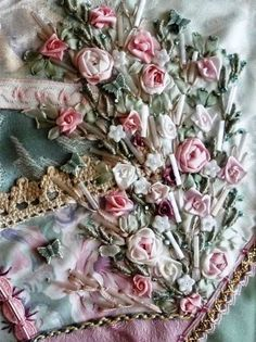 Lovely lovely silk ribbon embroidery on Sharon Boggon's gorgeous crazy quilt.. No tutorial but so beautiful to look at!