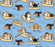 Doggy Paddles fabric by cecilia_mok on Spoonflower - custom fabric