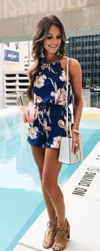 #summer #fashion / blue floral print jumpsuit