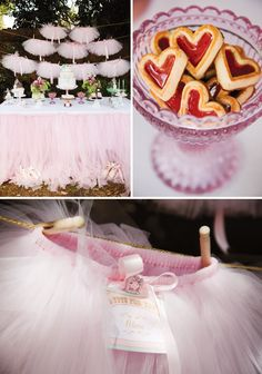 Ballerina Birthday with a Pink Tutu Backdrop...such a sweet, girly theme!