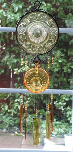 Depression Glass Windchime with Stained by SerendipityGlassWrks