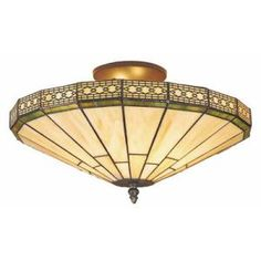 Spectrum Creations 16 In. High Sonoma Semi-Flush Sonoma classic American Mission style ceiling mount fixture has a Tiffany style shade in neutral honey beige and cerise streaked green art glass. The intricate filigree border on the hand crafted glass shade and antique bronze hardware make it a standout statement.    1 Light semi-flush ceiling mount  Antique bronze hardware with Tiffany style glass shade  Overall size is 16 In. Diameter x 12.25 In. H  Uses 1-40 medium base bulb