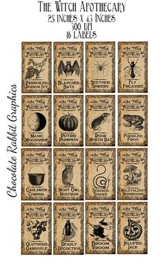 Clip Art for Halloween Witch Potion Bottle Labels Tags - Original Design Vintage Printable Apothecary Jar Images - Aged version The labels are Halloween Party Snacks, Theme Halloween, Halloween Labels, Spooky Halloween, Vintage Halloween, Halloween Crafts, Halloween Decorations, Vintage Witch, Free Halloween Printables