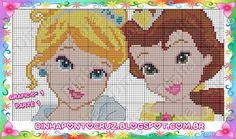 Cinderella and Belle - Disney Princess pattern by Dinha Ponto Cruz