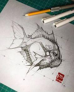 Scary Drawings, Cool Art Drawings, Pencil Art Drawings, Art Drawings Sketches, Tattoo Drawings, Animal Sketches, Animal Drawings, Bleistift Tattoo, Stylo Art