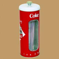 Porte Pailles, Distributeur de Pailles Coca-Cola en Métal avec Graphiques Embossés. *50 Pailles Incluses