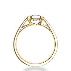 asscher cut bezel set diamond ring in 14k yellow gold