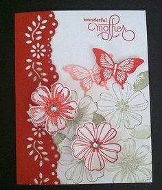 "Mothers Day Card Kit Set of 4 ""Wonderful Mother"" Stampin Up Flowers Butterflies 