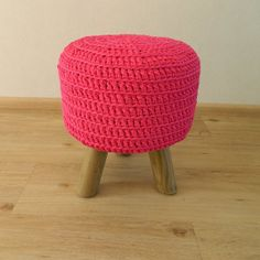 Bright pink stool hot pink crocheted footstool round by MadebyAns, €74.75