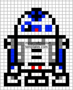 R2D2 perler bead pattern - single crochet for a square to make a star wars theme blanket