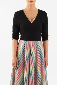I <3 this Cotton knit wrap top from eShakti