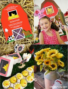A Joint Barnyard Birthday Party - ideas on decor, food and favors by Bird's Party  #farm #barnyard #animals #birthday #partyideas #party #kids #DIY