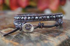 Double Wrap Leather Beaded Bracelet by TrulyAmberJewelry on Etsy, $65.00