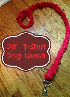 DIY Upcycled T-Shirt Dog Leash, plus dozens of other cool DIY's for your pets! #upcycle #upcycling #DIY