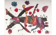 "Gage Marr, Year 1 Newling Preschool, ""Singing Fish- a response to Jean Miro (2013), watercolour and crayon.  LETS HANG IT! @neram_art #Armidale 18 July- 3 August 2014 http://www.neram.com.au/portfolio-items/lets-hang-it/#prettyPhoto"
